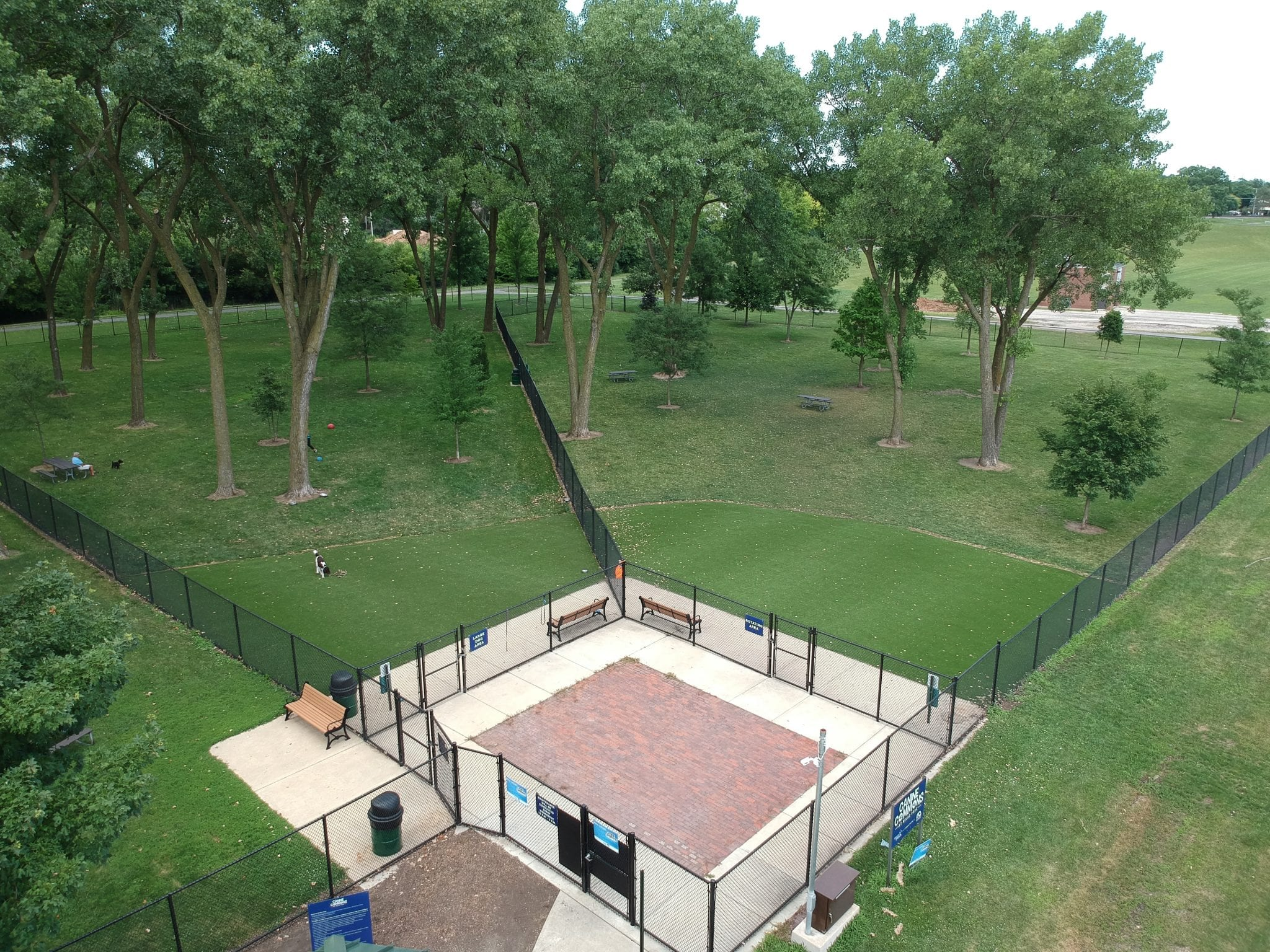 Aerial photo of Perfect Turf used at the Canine Commons Dog Park.