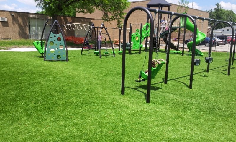 Turf playground in green