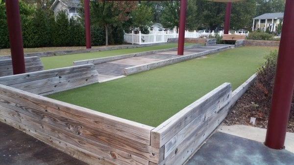 Bocce ball courts using Bocce 125 in a park.