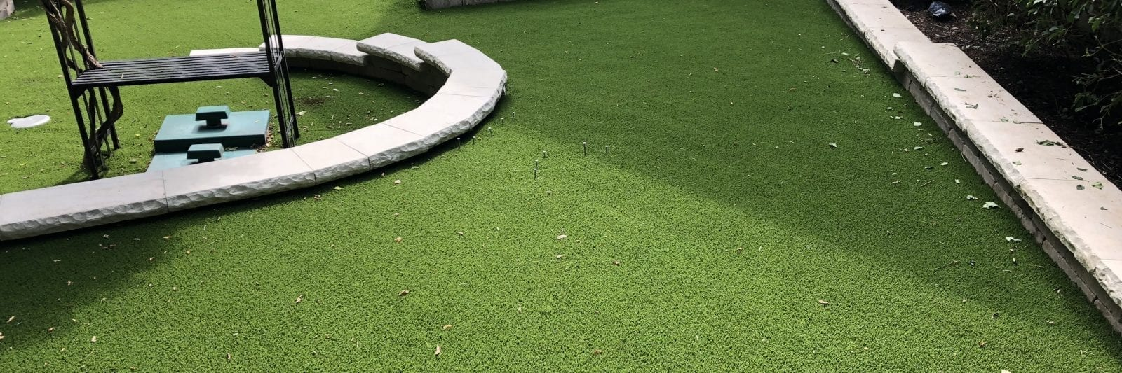Residential backyard with synthetic turf