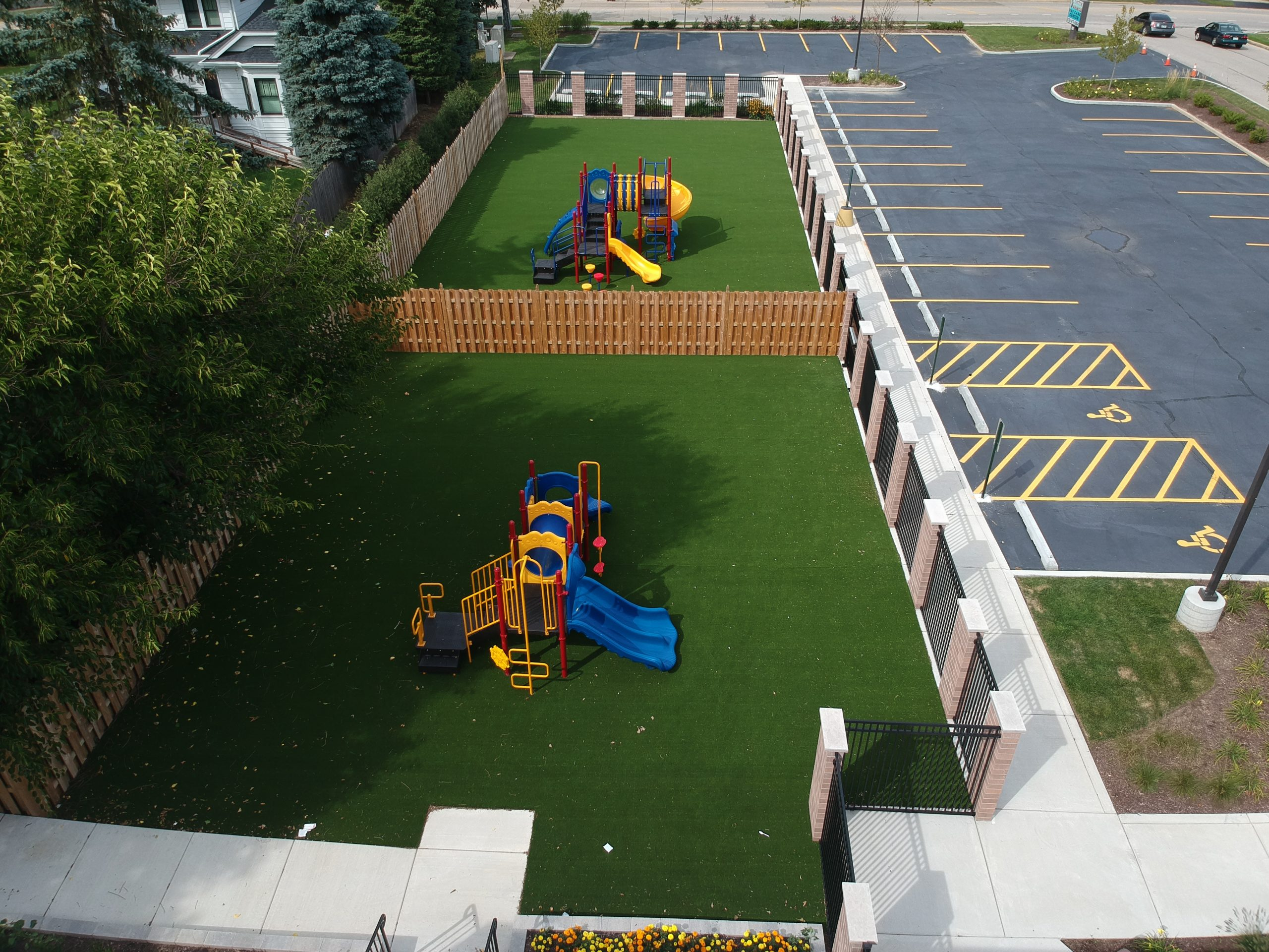 Aerial Drone Photo of the two play areas at Little Prince Daycare