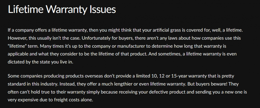Excerpt from a synlawn blog post detailing issues with lifetime warranties from before they offered a lifetime warraty.